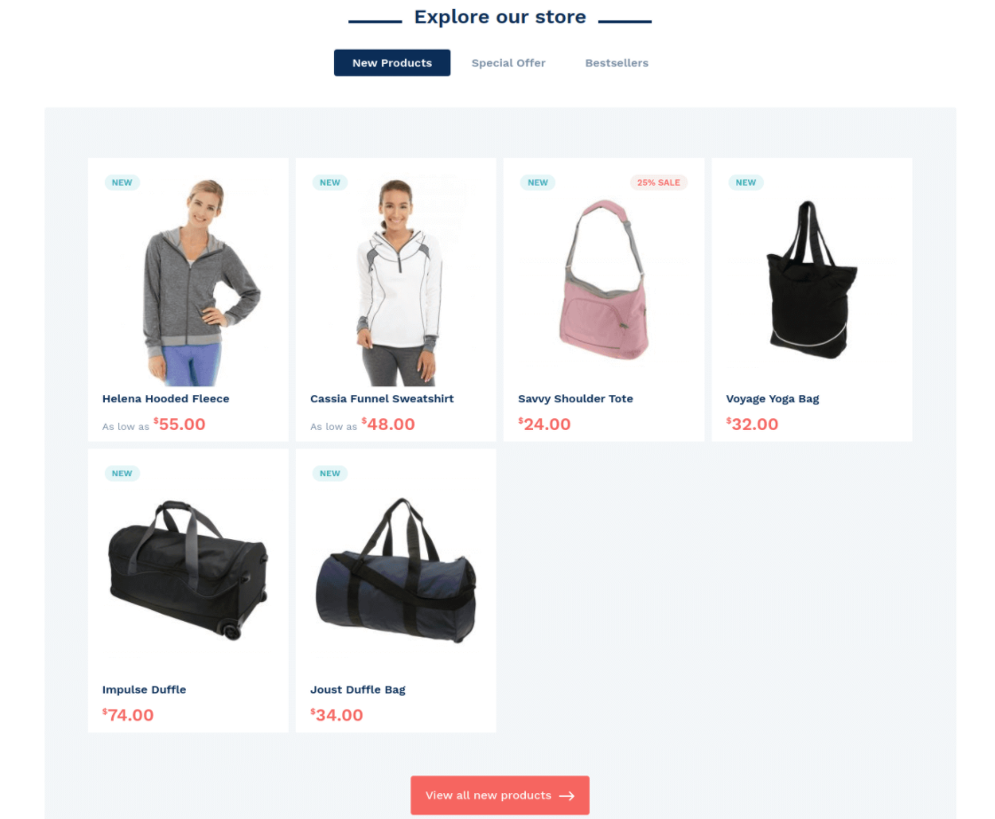 magento 2 homepage tabs